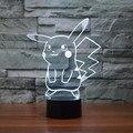 Go Пикачу покемон Bulbasaur Charmander Squirtle 3D Визуальный СВЕТОДИОДНЫЙ Сенсорный Lightnight Лампы Home Decor 7 Цветов Изменение Игрушки Детям Подарок