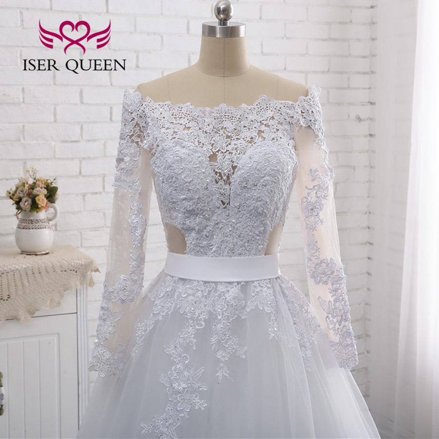 Illusion Back Sexy Wedding Dress A line Long Sleeves European Wedding Gowns 2019 Lace Embroidery Wedding Dresses W0274-in Wedding Dresses from Weddings & Events