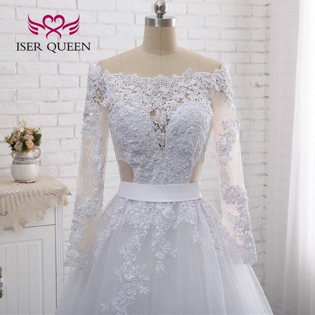 Illusion Zurück Sexy Hochzeit Kleid EINE linie Lange Ärmeln Europäischen Hochzeit Kleider Spitze Stickerei Hochzeit Kleider W0274