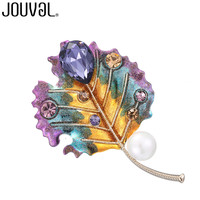 JOUVAL Big Leaf Brooches For Women Colorful With Simulated Pearl Crystal Plant Brooch Scarf Hijab Pins