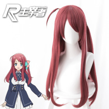 цена на Zombieland Saga Cosplay Costume Wig purplish Red Long Straight Halloween Long Straight Sakura Minamoto Hair Wig