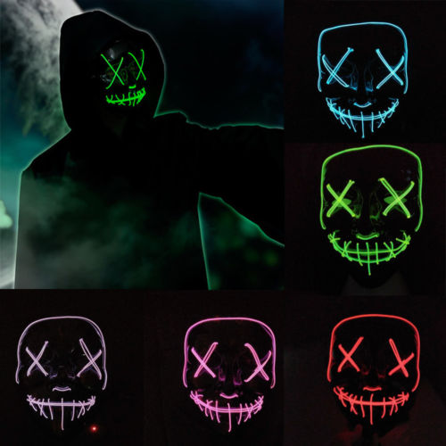 Men's Masks Men's Accessories Good 1pc Led Mask Atttractive Luminous 7 Colors Dust-proof Bright Light Up Mask Rave Mask For Party Women Men Halloween
