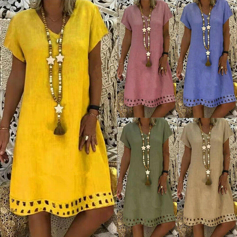 2019 Women's Summer Boho Casual Short Sleeve Evening Party Dresses Plus Size Cotton Linen Solid Color Loose V-neck Beach Dress