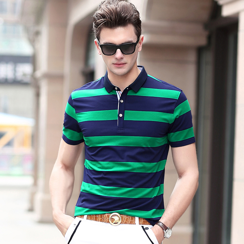 2019 New Fashion Brands Summer   Polo   Shirts Men Cotton British Style Short Sleeve Slim Fit Striped   Polos   Casual Men Clothes