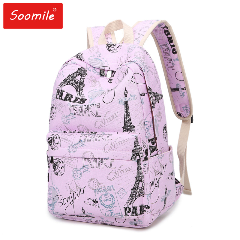 Paris Eiffel Tower Printing Girls School Bags Flower Casual Backpacks Fashion Women Canvas Schoolbags For Teenage Students 2019