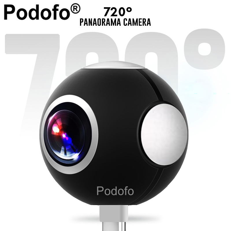 Podofo Mini HD Panoramic 360 Camera Wide Dual Angle Fish Eye Lens VR Video Camera for Smartphone Type-c USB Sport & Action Cam panoramic hd 2mp megapixel 1080p ip network 180degree fish eye lens wide angle onvif p2p camera