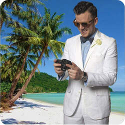 Белый лен Для мужчин костюмы пляж свадебное смокинг для жениха из 2 предметов (куртка + брюки) Slim Fit Причинно мужской костюмы мужской костюм