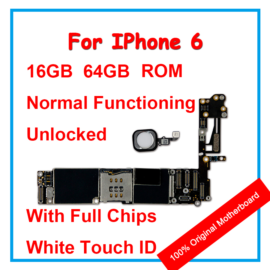 Original Motherboard For Apple iPhone 6 16GB 64GB 100% Unlocked Mainboard With Chips With IOS Logic Board With White Touch ID