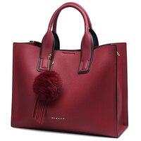 Miyaco Brand Women Handbag Totes Bags for Women Messenger Bag Purses and Handbags Leather Top Hand Bag with Fur Ball Tassel
