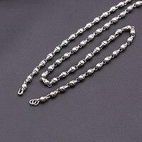 FNJ 4.5mm Skull Chain Punk Necklaces 925 Silver 45cm to 80cm Fashion Original S925 Thai Silver Men Necklace Jewelry