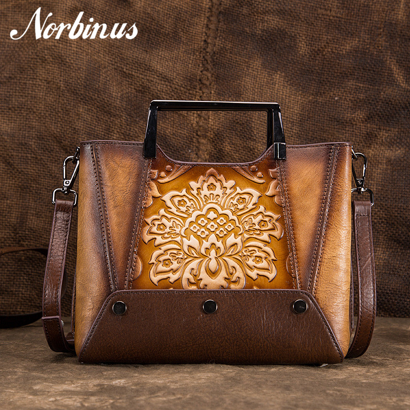 Norbinus Genuine Leather Women Messenger Bag Female Embossed Crossbody Shoulder Bag National Design Top Handle Bags Ladies TotesNorbinus Genuine Leather Women Messenger Bag Female Embossed Crossbody Shoulder Bag National Design Top Handle Bags Ladies Totes