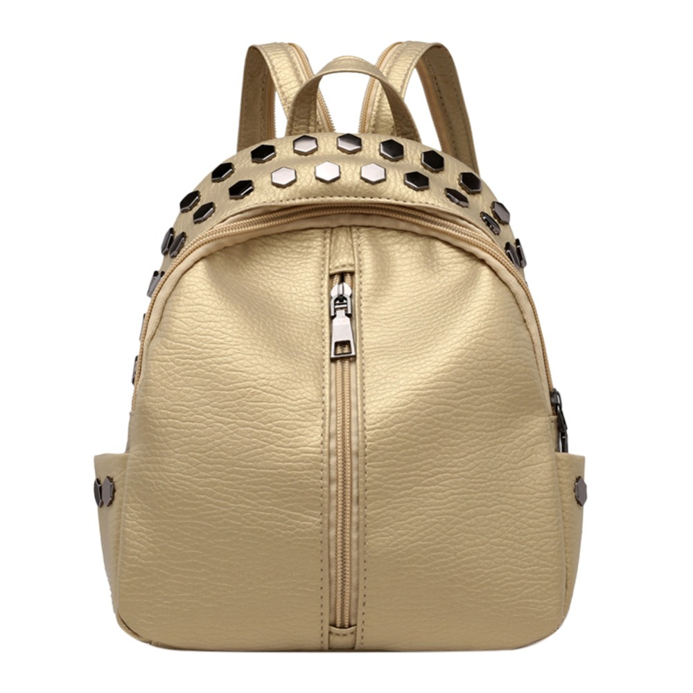 Punk Style Women Zipper Casual Rivets Mini Backpacks Pu Leather Kids Shoulder Small School Bags Women Leather Backpack