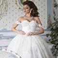Plus size vestidos de casamento vestido de baile vestidos de casamento Lace Applique Vestido De Casamento árabe 2017 Querida árabe vestidos de noiva marfim