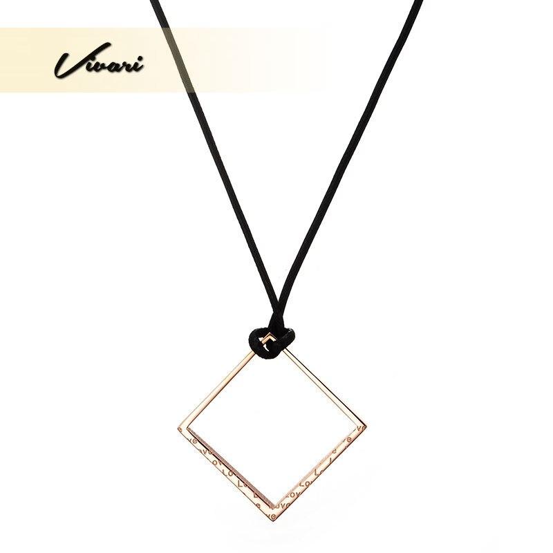 6c98531f050f Vivari 2017 clásico amor palabras mujeres Acero inoxidable collar de cuero  rosa de oro de color cuadrado forma damas joyería Accesorios