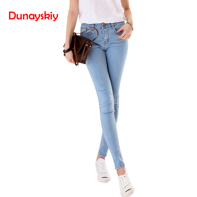 Dunayskiy Female Clothes Skinny Slim Jeans Woman High Waist Basic Casual Preppy Style Pencil Pants Trousers