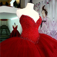Heavy Beading Long Red Quinceanera Dresses Puffy Ball Gown Crystal Sweetheart Lace Up Tulle Vestidos De