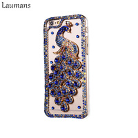 New Fashion DIY Rhinestone Bling Crystal Phone Case Peacock Shell Transparent PC Cover For Iphone 5s