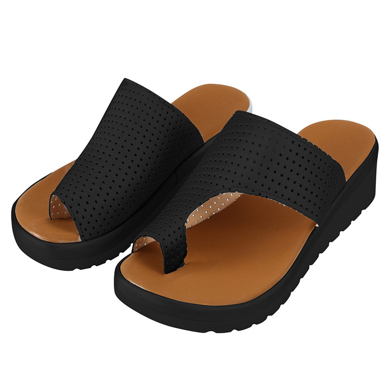 Ladies Sandals Wedge-Heel Slippers Beach-Shoes Summer Fashion Thick Toe Sole Retro Clip-Toe