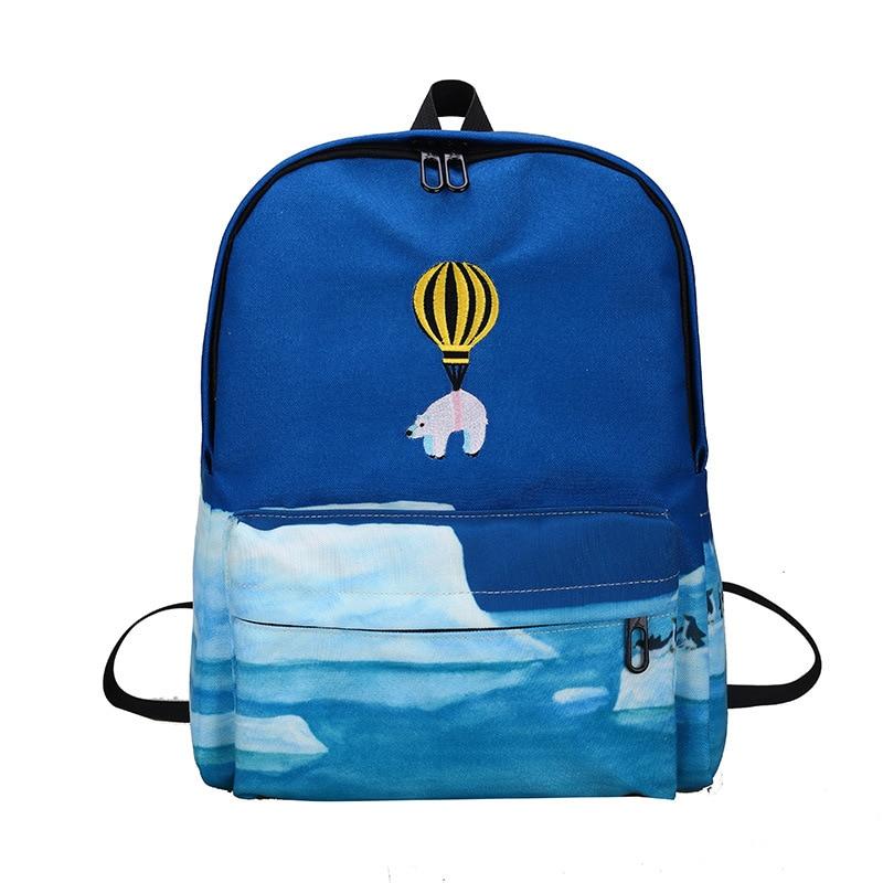 animal balão bordado mochila paisagem Tipo de Mochila : Livro de Bolso