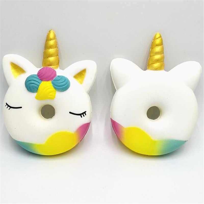 Anti-stress Arco Iris unicornio Squishy lenta Rising Squishi PU Squishy Squeeze Pegasus Squishes Lanyard para todas las correas de teléfono inteligente #