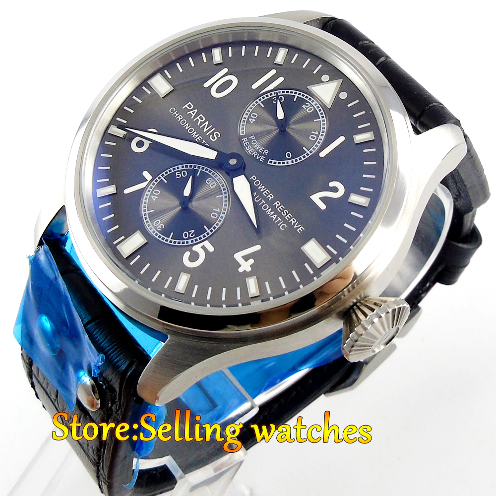 47mm parnis gray dial power reserve automatic mens watch47mm parnis gray dial power reserve automatic mens watch