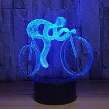 Езда на велосипеде 3D лампа светодиодный ночник 7 цветов Изменение 3D визуальная голограмма Декор AAA батареи Usb настольная лампа Lampara для спортивного человека