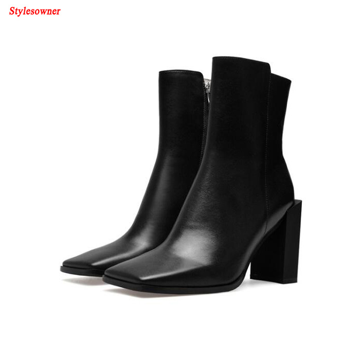 Stylesowner Hot Sale Fashion Solid Color Square Toe Women Ankle Boot Genuine Leahter Strange Chunky High Heel Zipper Ladies Boot double barrel toddler boys s andy cowboy boot square toe
