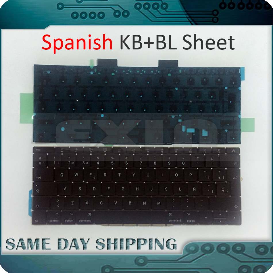 Genuine New for Macbook Pro 13.3 Retina A1708 Keyboard with Backlight Spanish Spain Standard Layout Late 2016 Mid 2017 Year original new laptop a1708 palm rest repair for macbook retina pro top housing case cover us layout 13 inch 2016 year replacement