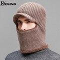 [Dexing] balacla grosso veludo quente chapéus de inverno para homens malha bonnet gorros skullies caps beanie máscara de esqui esporte cap balaclava