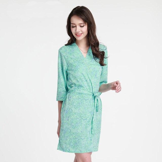 b3d9741009 NEW Style Female Kimono Bathrobe Gown Green Print Floral Robe Nightgown  Modal Nightdress Sexy Sleepwear Half