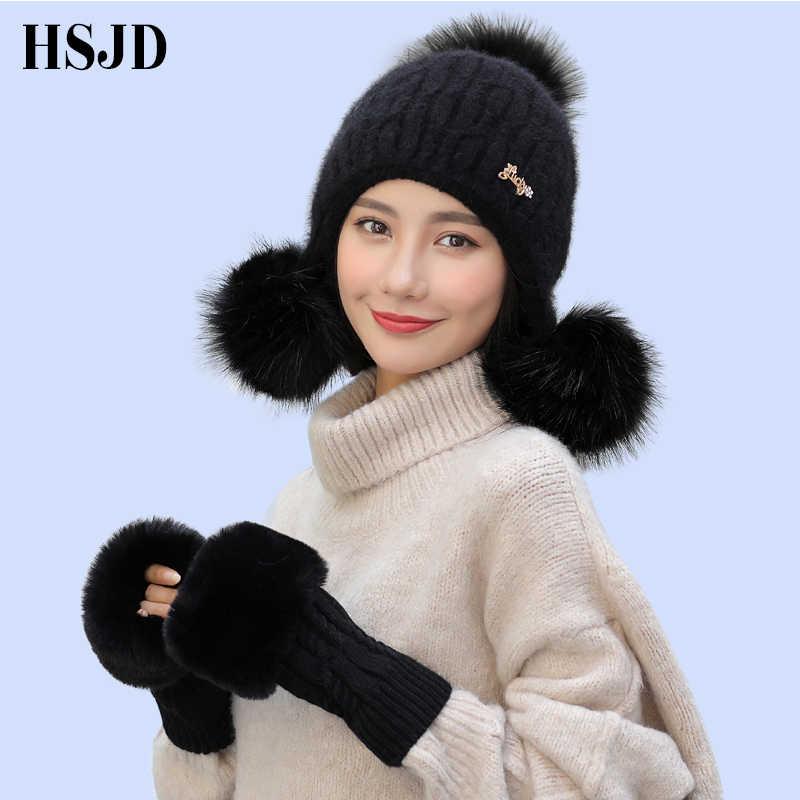 f604c8efa00 2018 New Women Rabbit hair Knitted Hat Gloves Set Warm Thick Skullies Hat  Three Pom Pom
