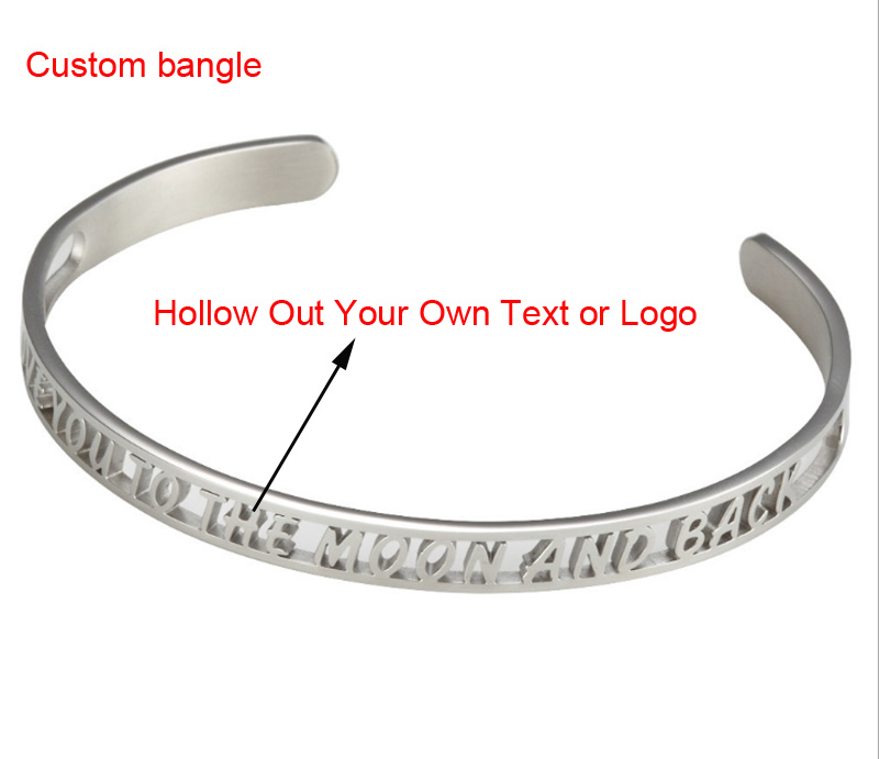 Hollow Out Stainless Steel Bangle  Custom Your Own Text And Your logo 20pcs/lot