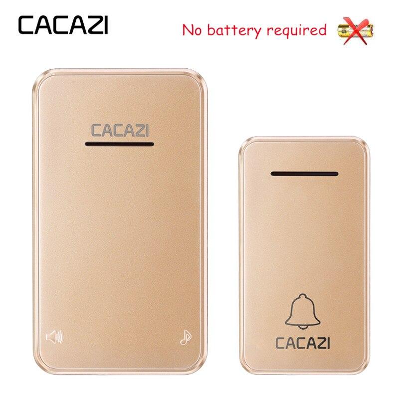 цена на CACAZI Self-powered Wireless Doorbell No battery Waterproof Led light US EU Plug Cordless DoorBell Chime 1 2 Button 1 2 Receiver