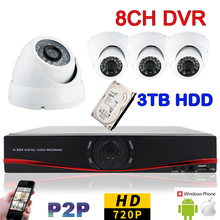 8CH H.264 DVR Video Surveillance System Kit 4PS 1.0 MegaPixel 720P HD AHD Camera CCTV Security Camera System with 3000GB HDD