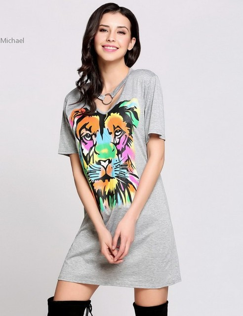 Fa 2017 Casual Women T Shirt Dress Short Sleeve V Neck Chocker Animal Print Summer