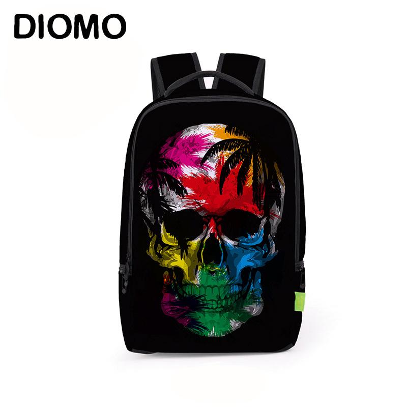 DIOMO Backpack Skull School Bags For Boys And Girls Kids Bag Teenager Bookbag New Year's Gift