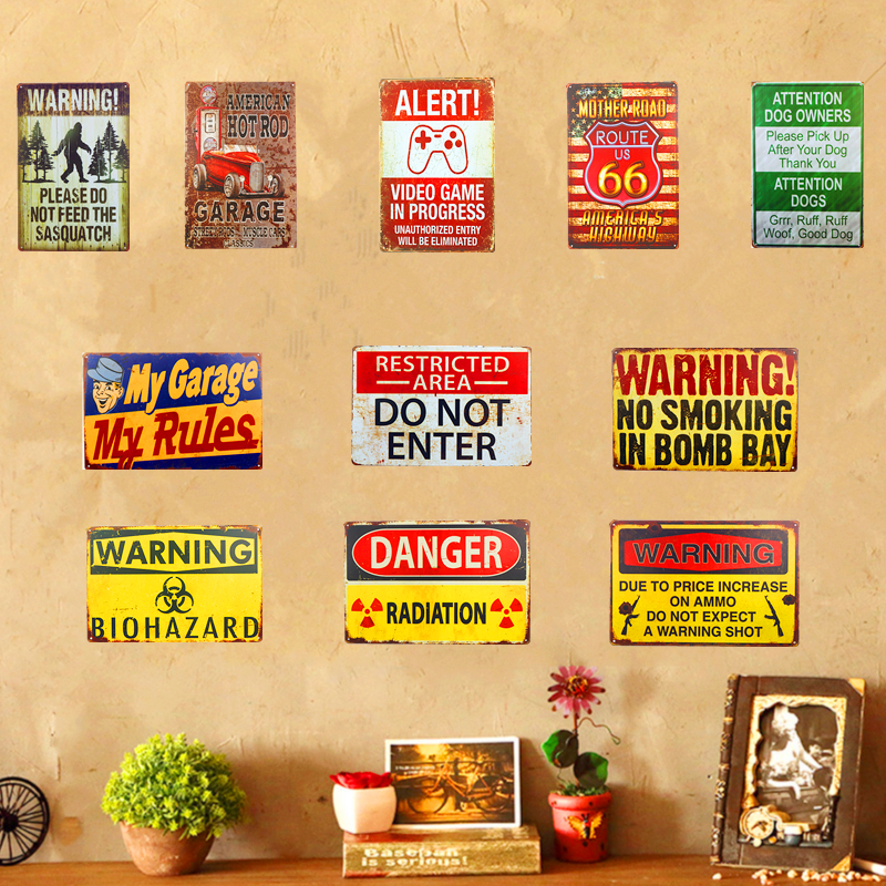 New Metal Tin Signs US Route 66 Garage Shabby chic Warning signs Art Poster Hot Rod Retro Panels, Home Decor, Man Cave