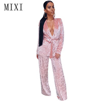 MIXI Two Pieces Set Velvet Jumpsuit Women Overalls Winter Long Sleeve Bandage Rompers Casual Loose Wide Leg Jumpsuits Plus Size