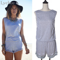 Casual Summer Women Jumpsuit Sexy Deep Backless Sleeveless Loose Short Playsuit Lace Trim Romper Overalls