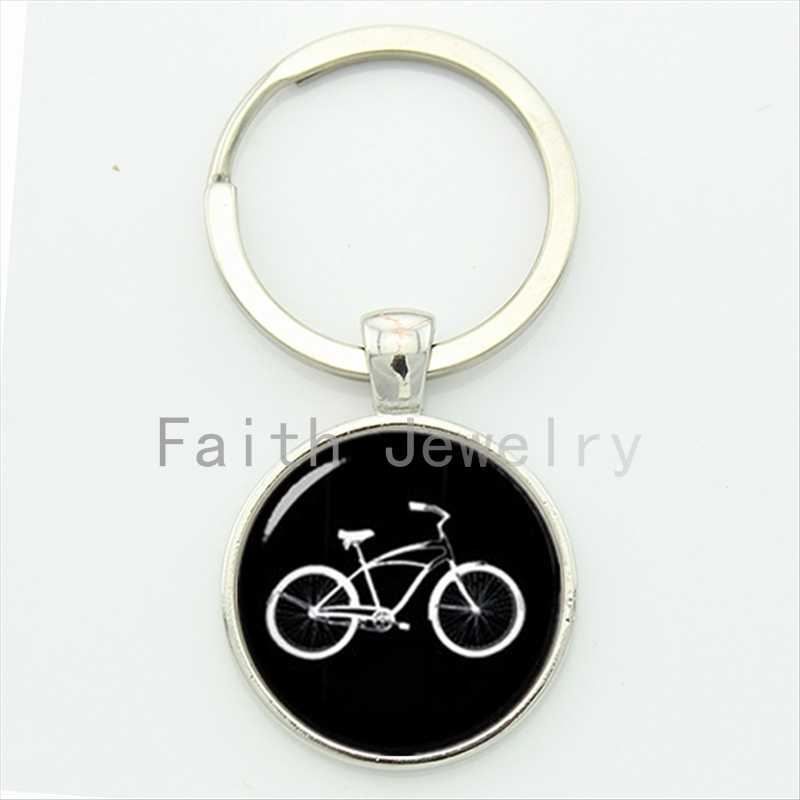Retro black white bike key chain personalized men accessories 2016 minimalist style casual sports bicycle keychain jewelry KC640