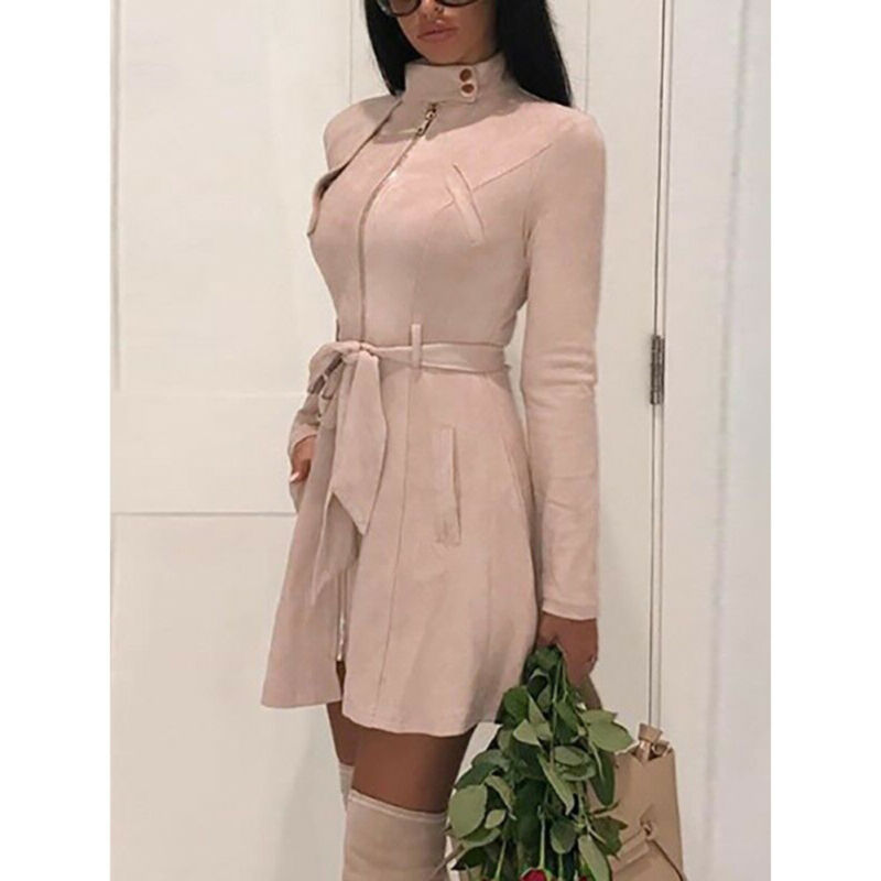Suede Leather Self Tie Duster Trench Coat Long Sleeve Slim Wrap Long Outerwear With Belt Women Casual Fall Winter Workwear Coat