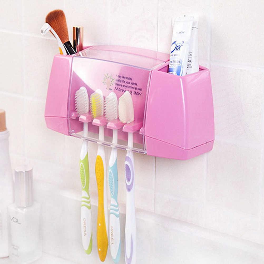 1 sztuk wielofunkcyjny uchwyt na szczoteczkę do zębów pudełko do przechowywania akcesoria łazienkowe przyssawki szczotka do zębów uchwyt