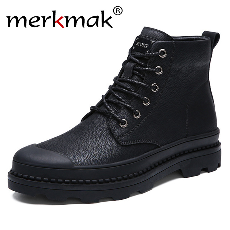 Merkmak Men Boots With Fur Business Casual Boots For Men 2018 Winter Autumn Black Fashion Basic Warm Boots Ankle Lace Up Shoes merkmak genuine leather men ankle boots vintage lace up high top shoes fashion winter autumn warm martin boots casual outdoor