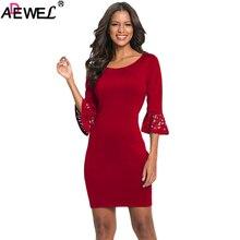 ADEWEL Elegant Women Dress3/4 Hollow out Bell Sleeve Sheath Mini Dress O Neck Summer Autumn Sexy Party Dress Ladies Short Dress недорого