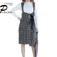 Vintage Strap Wool Piaid Dress Women Oversized Sleeveless Fall Winter Retro Checkered Asymmetry Knee Length Dresses