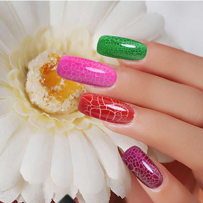 Huration Crackle do paznokci lakier do paznokci do paznokci profesjonalne pęknięcia Saok do paznokci sztuka szczęście Led lampa UV wzór pęknięcia lakier do paznokci gelpolish