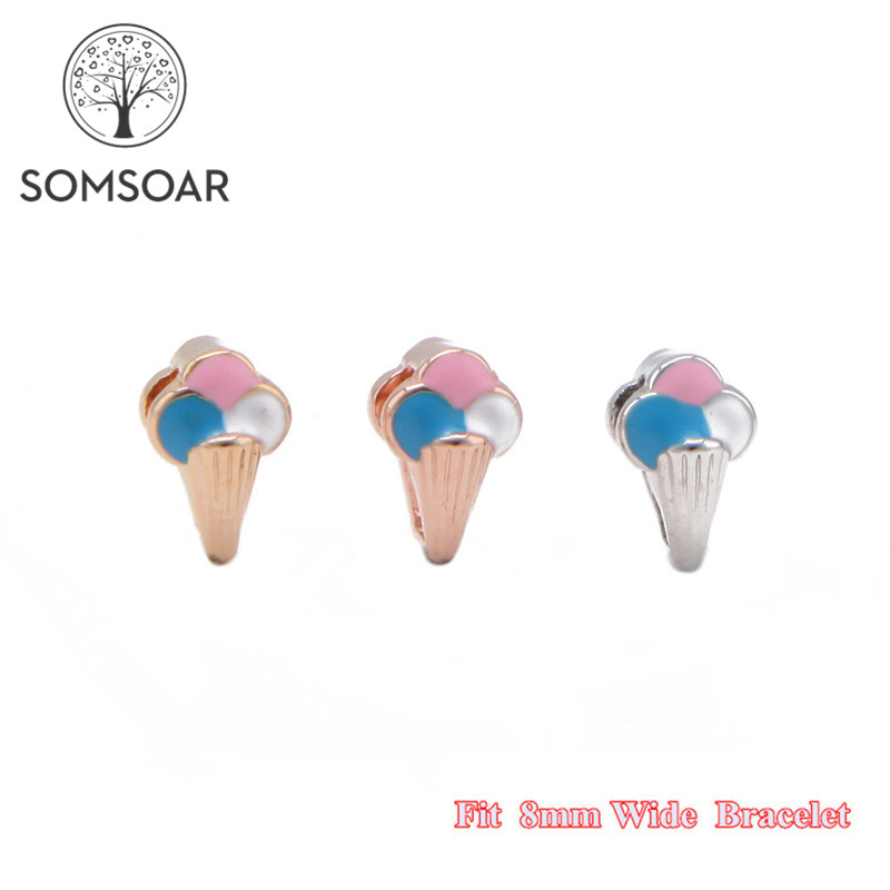Somsoar Jewelry Kids Size Snow Cone Slide Charms fit 8mm Wide Leather Wrap Bracelet Wristband for child Toddler/Women 10pcs/lot