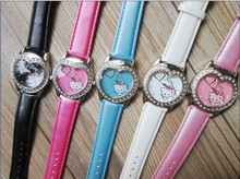 2015 новый 15 шт./лот мода Hello Kitty Кварцевые Часы Дети Женщин Девушки Кожа Кристалл Смотреть