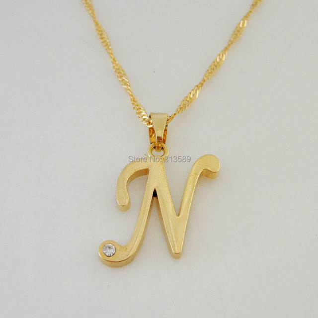 Min order 10 can mix design yellow gold gp 18 twist necklace 26 min order 10 can mix design yellow gold gp 18 twist necklace 26 letters letter n initial pendant czgreat money maker in pendant necklaces from jewelry aloadofball Gallery