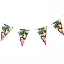 Маша и медведь мультфильм печатных 10 шт. подвесной флаг баннеры на день рождения вечерние Детские вечерние украшения дома праздничные поставки